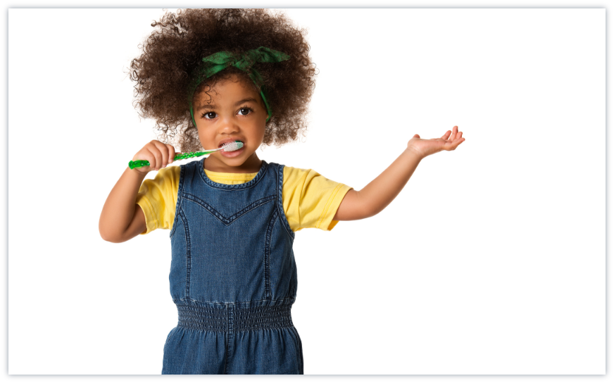 A kid brushing teeth